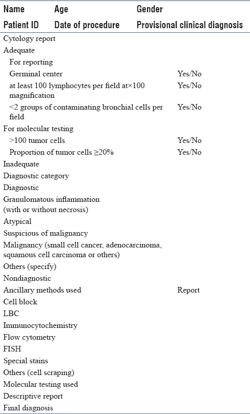 Table 3: A suggested template for cytological reporting of lymph node aspirate obtained using endobronchial ultrasound-guided transbronchial needle aspirate